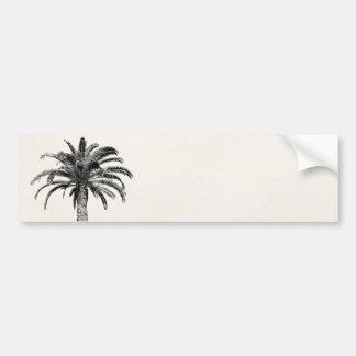 Retro Tropical Island Palm Tree in Black and White Bumper Sticker