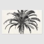 Retro Tropical Island Palm Tree in Black and White Rectangular Stickers