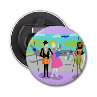Retro Tropical Vacation Magnetic Bottle Opener