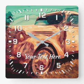 Retro Truck Graphic Your Text Square Wall Clock