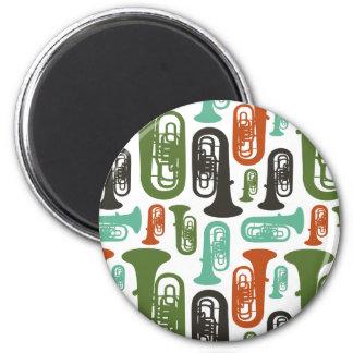 Retro Tuba Patttern 6 Cm Round Magnet