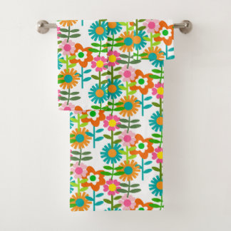Retro Turquoise And Orange Flowers Bath Towel Set