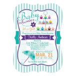 Retro Turquoise and Purple Baby Shower 13 Cm X 18 Cm Invitation Card