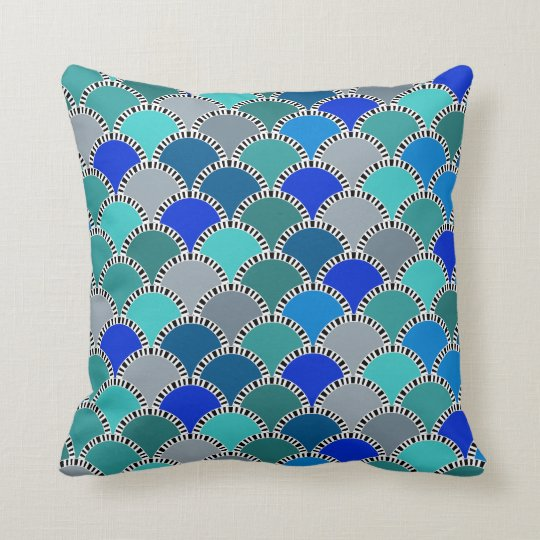 Retro Turquoise Blue Teal Grey Scales Pattern Cushion