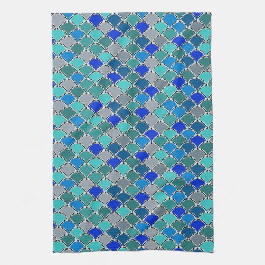 Turquoise Kitchen Towels: Retro Turquoise Blue Teal Grey Scales Pattern Tea Towel