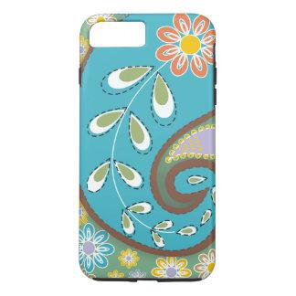 Retro turquoise, brown paisley motif custom iPhone 7 plus case