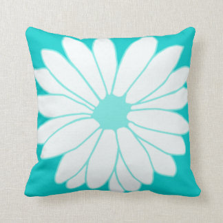 Retro Turquoise Daisy American MoJo Throw Pillow