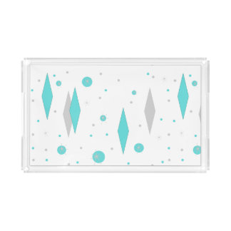 Retro Turquoise Diamond & Starburst Acrylic Tray