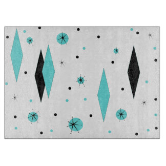 Retro Turquoise Diamond & Starburst Cutting Board