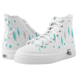 Retro Turquoise Diamond & Starburst High Top Shoes