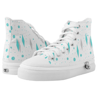 Retro Turquoise Diamond & Starburst High Top Shoes Printed Shoes