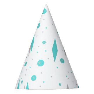 Retro Turquoise Diamond & Starburst Party Hat
