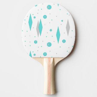 Retro Turquoise Diamond & Starburst Ping Pong Padd