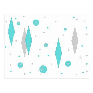 Retro Turquoise Diamond & Starburst Postcard