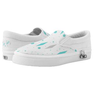 Retro Turquoise Diamond & Starburst Slip On Shoes Printed Shoes