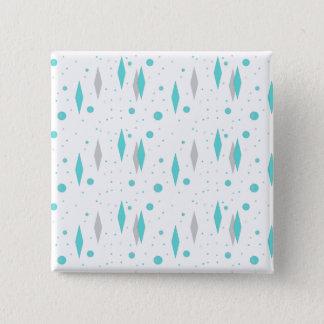 Retro Turquoise Diamond & Starburst Square Button