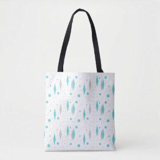 Retro Turquoise Diamond & Starburst Tote Bag