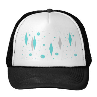 Retro Turquoise Diamond & Starburst Trucker Hat