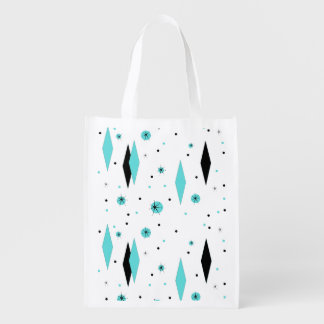 Retro Turquoise Diamonds Reusable Grocery Bag