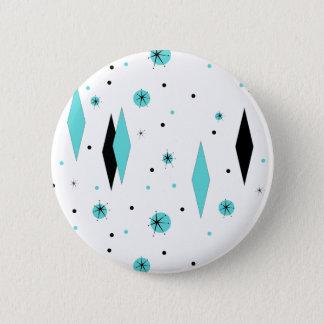 Retro Turquoise Diamonds & Starbursts Button