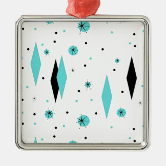 Retro Turquoise Diamonds & Starbursts Ornament