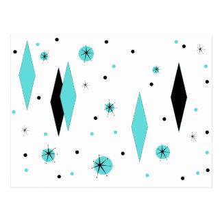 Retro Turquoise Diamonds & Starbursts Postcard