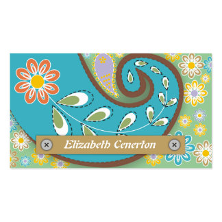 Retro turquoise, green paisley motif floral business cards