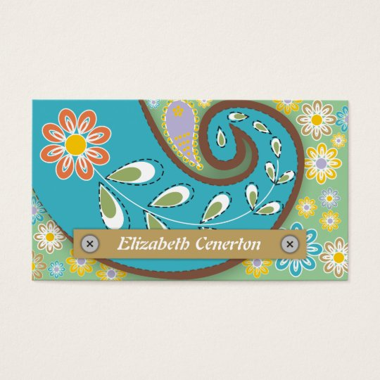 Retro turquoise, green paisley motif floral business card