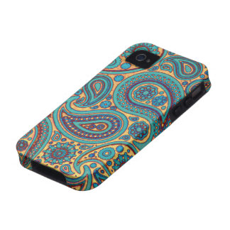 Retro Turquoise Paisley Case-Mate iPhone 4 Covers