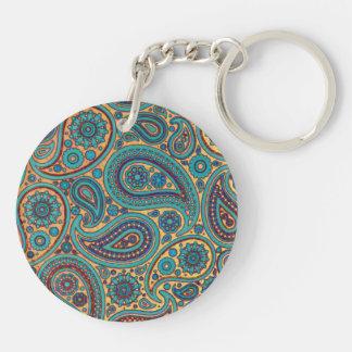 Retro Turquoise Rainbow Paisley motif Double-Sided Round Acrylic Key Ring