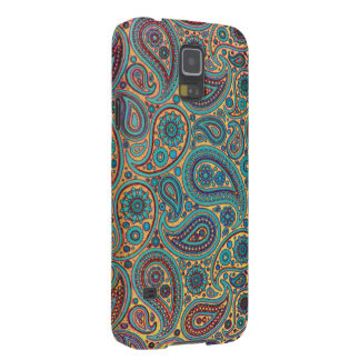 Retro Turquoise Rainbow Paisley motif Galaxy S5 Case