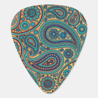 Retro Turquoise Rainbow Paisley motif Plectrum