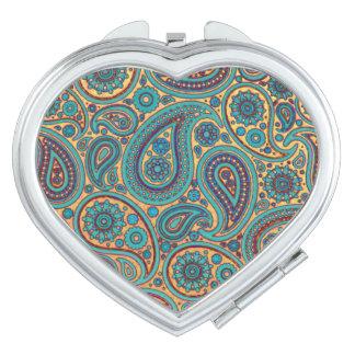 Retro Turquoise Rainbow Paisley motif Makeup Mirrors