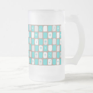 Retro Turquoise Starbursts Frosted Glass Mug