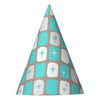 Retro Turquoise Starbursts Party Hat