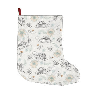 Retro Turtle Pattern Large Christmas Stocking