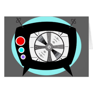 Retro TV and Test Pattern Card