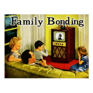 Retro TV Family Postcard (Family Bonding)