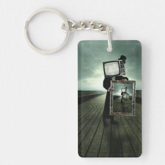 Retro tv men Double-Sided rectangular acrylic key ring