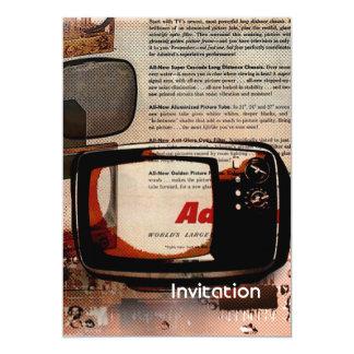 retro tv vintage newspaper print fashion 13 cm x 18 cm invitation card