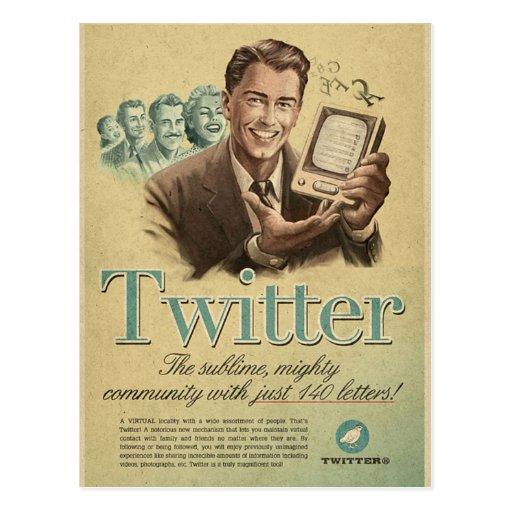 Retro Twitter Social Media Ad by Send My Love Post Card