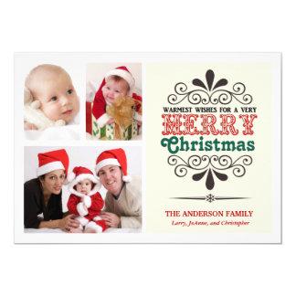 Retro Type Christmas Tri-Photo Flat Card 13 Cm X 18 Cm Invitation Card