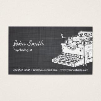 Retro Typewriter Psychologist Linen Business Card