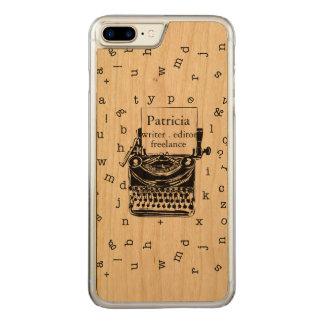Retro Typewriter Showing  Real Wood  Grain Carved iPhone 8 Plus/7 Plus Case