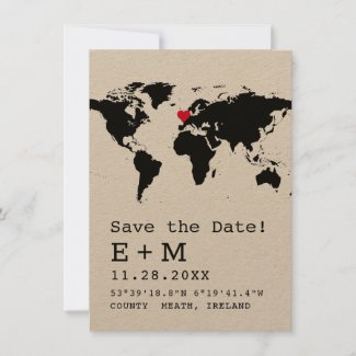 Retro Typewriter World Map with Heart Destination Save The Date
