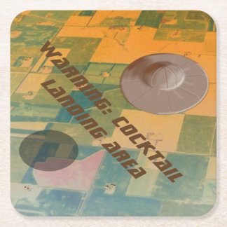 RETRO UFO FLYING SAUCER by Jetpackcorps Square Paper Coaster