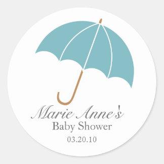 retro umbrella BABY SHOWER party favor label