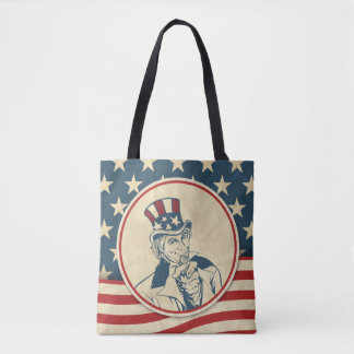 Retro Uncle Sam Stars and Stripes Pattern Tote Bag