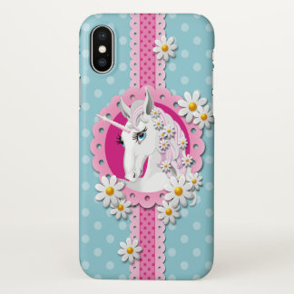 Retro Unicorn Pattern in Pink on Blue iPhone X Case