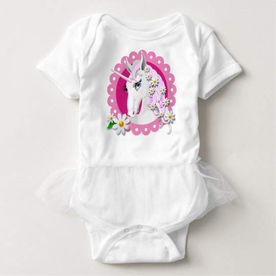 Retro Unicorn Pattern in Pink with Daisies Baby